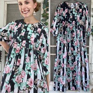 Vintage Floral Striped Zip Mumu House Dress L
